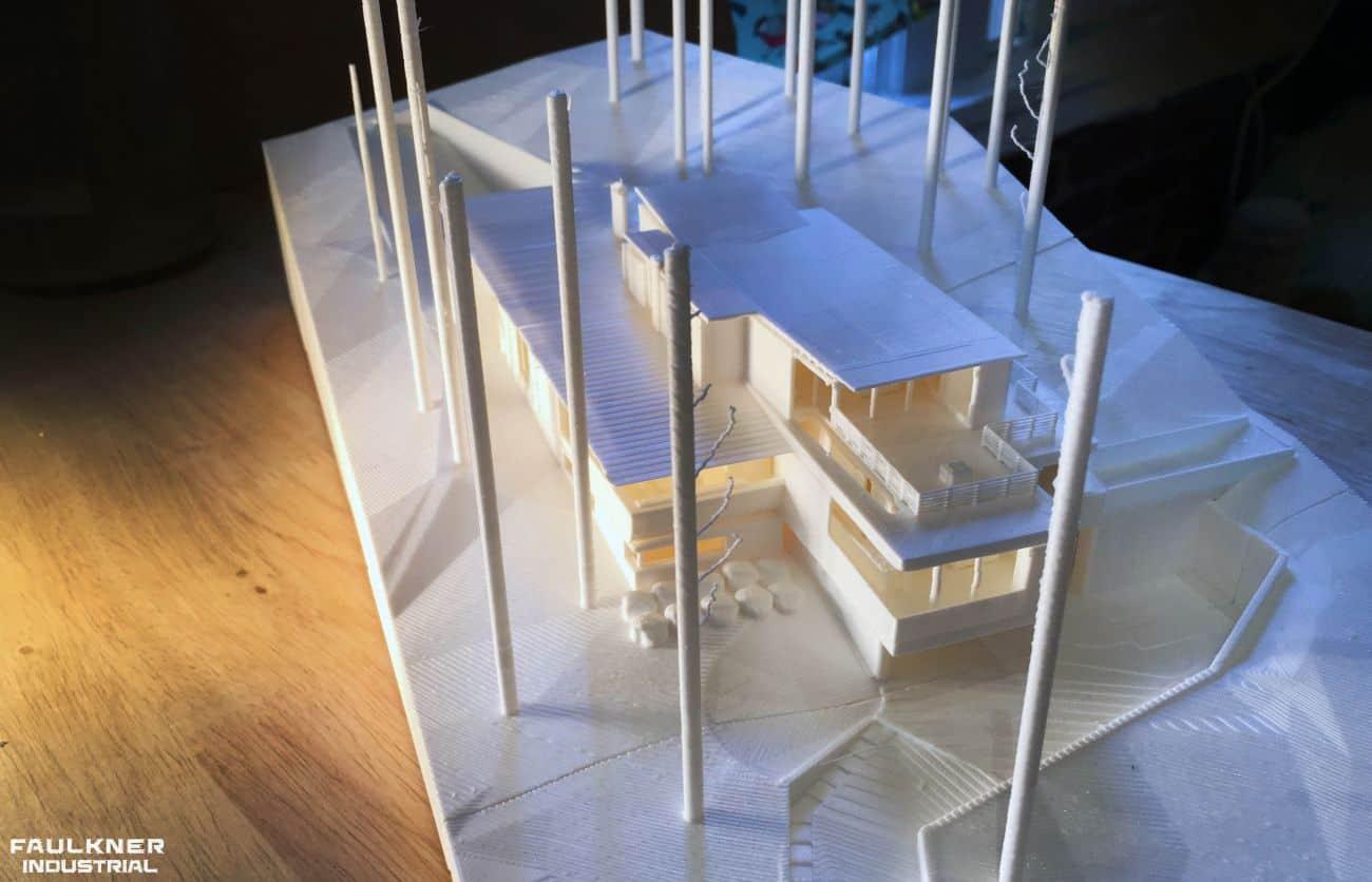 En 3D-printad Faulkner Industrial modell